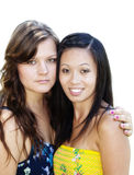 Caucasian And Asian American Women Friends Portrait Royalty Free Stock Photography
