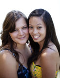 Caucasian And Asian American Women Standing Together Royalty Free Stock Photo