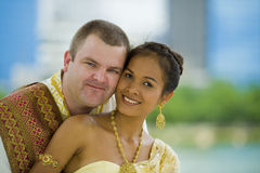 Caucasian and asian couple Royalty Free Stock Photo