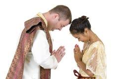 Caucasian and asian couple stock photos