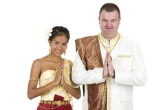 Caucasian and asian couple Stock Photo