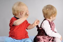Caucasian babies playing Royalty Free Stock Image