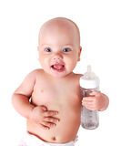 Baby with bottle isolated. stock image