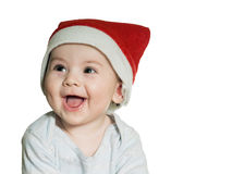 Caucasian baby boy in Christmas hat isolated Royalty Free Stock Photos