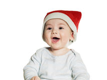 Caucasian baby boy in Christmas hat isolated Royalty Free Stock Image