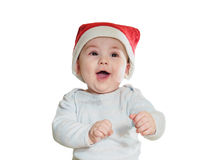 Caucasian baby boy in Christmas hat isolated Stock Photo
