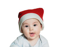 Caucasian baby boy in Christmas hat isolated Royalty Free Stock Photo