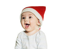 Caucasian baby boy in Christmas hat isolated Stock Image