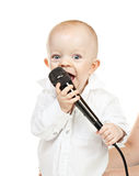 Caucasian baby boy with microphone Royalty Free Stock Photo