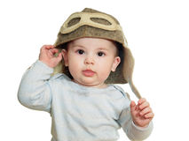 Caucasian baby boy in pilot hat isolated Stock Photography