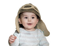Caucasian baby boy in pilot hat isolated Royalty Free Stock Images
