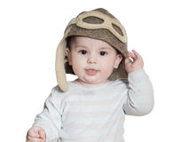 Caucasian baby boy in pilot hat isolated Stock Photo