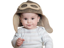 Caucasian baby boy in pilot hat isolated Stock Image