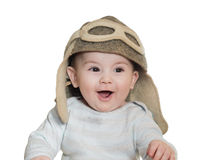 Caucasian baby boy in pilot hat isolated Royalty Free Stock Image