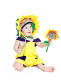 Caucasian baby boy in a sunflower  fancy dress Royalty Free Stock Photo