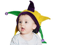 Caucasian baby boy wearing a colored party hat isolated Royalty Free Stock Photos
