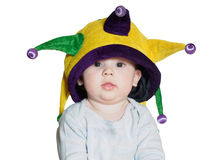 Caucasian baby boy wearing a colored party hat isolated Royalty Free Stock Photography