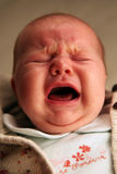 Caucasian baby crying. Because she wants milk Stock Image