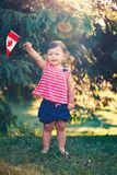 Caucasian baby girl holding Canadian flag with red maple leaf. Portrait of little white Caucasian baby girl holding Canadian flag with red maple leaf. Toddler royalty free stock images