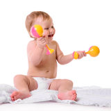 Caucasian baby playing Royalty Free Stock Image