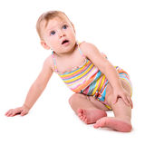 Caucasian baby sitting Royalty Free Stock Photo