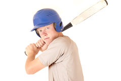 Caucasian baseball player focused expression wearing helmet Stock Image