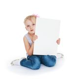 Caucasian beautiful little girl holding a banner Royalty Free Stock Photo