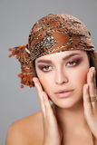 Caucasian beauty wearing a headscarf Stock Image