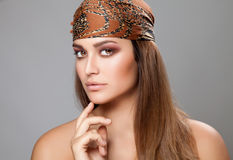 Caucasian beauty wearing a headscarf Royalty Free Stock Photo