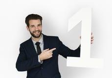 Caucasian begrepp för nummer ett för affärsman Arkivbild