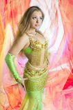 Caucasian belly dancer posing Royalty Free Stock Images