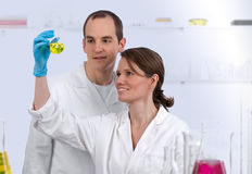 Caucasian biotechnicians in the lab Royalty Free Stock Photo