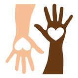 Caucasian and black hands. Heart over caucasian and black hands. vector illustration Stock Photos