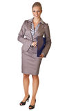 Caucasian blond businesswoman in suit holding ring Stock Photo