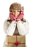 Caucasian blond woman in furry hat Stock Photography
