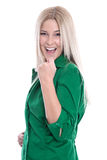 Caucasian blond woman is glad and feeling successful isolated on Royalty Free Stock Image