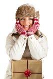 Caucasian Blond Woman In Furry Hat
