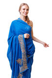 Caucasian young woman in blue indian national dress isolated Royalty Free Stock Image