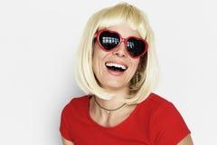 Caucasian Blonde Woman Wearing Sunglasses. Portrait Stock Photo