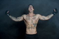 Caucasian Body Builder Screaming At Camera Stock Photography