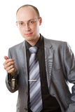 Caucasian Boss With Car Keys On A White Background Stock Photography