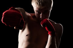 Caucasian boxer with red bandage Stock Images