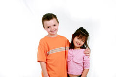 Caucasian boy and asian girl Royalty Free Stock Photography