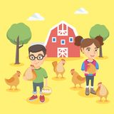 Caucasian boy and girl holding chickens and eggs. Royalty Free Stock Photography