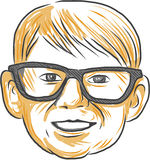 Caucasian Boy Glasses Head Smiling Drawing Royalty Free Stock Image