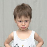 Caucasian boy in a gloomy mood Royalty Free Stock Images