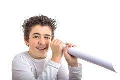 Caucasian boy looks in a fake spyglass Stock Image