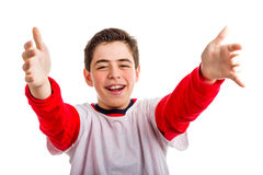 Caucasian boy offering a hug Royalty Free Stock Photography
