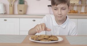 Caucasian boy peeking out of table, looking around, taking one biscuit and running away from kitchen. Portrait of cute