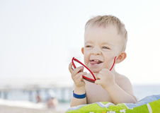 Caucasian boy with sunglasses Royalty Free Stock Photos